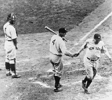 Home plate, congratulated by Gehrig.