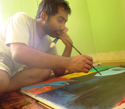 The artist must maintain proper posture when painting
