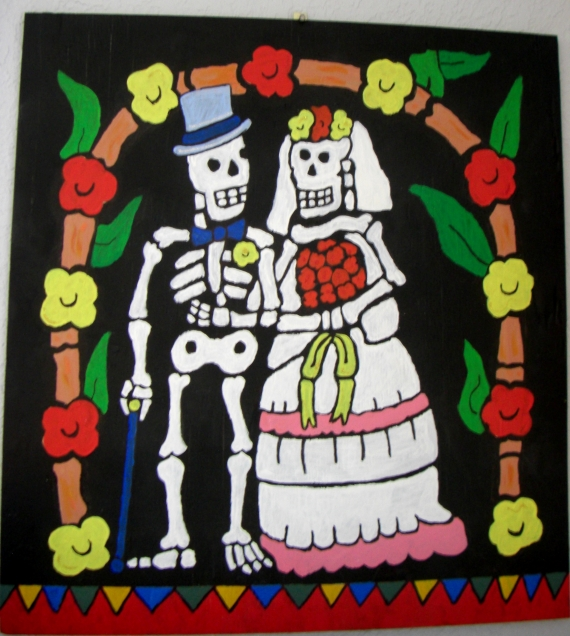 "I painted this with acrylics on 24"" x 24"" half inch plywood. It is a modified copy: Day of the Dead ceramic tile(6"" x 6"") by La Fuente Imports."