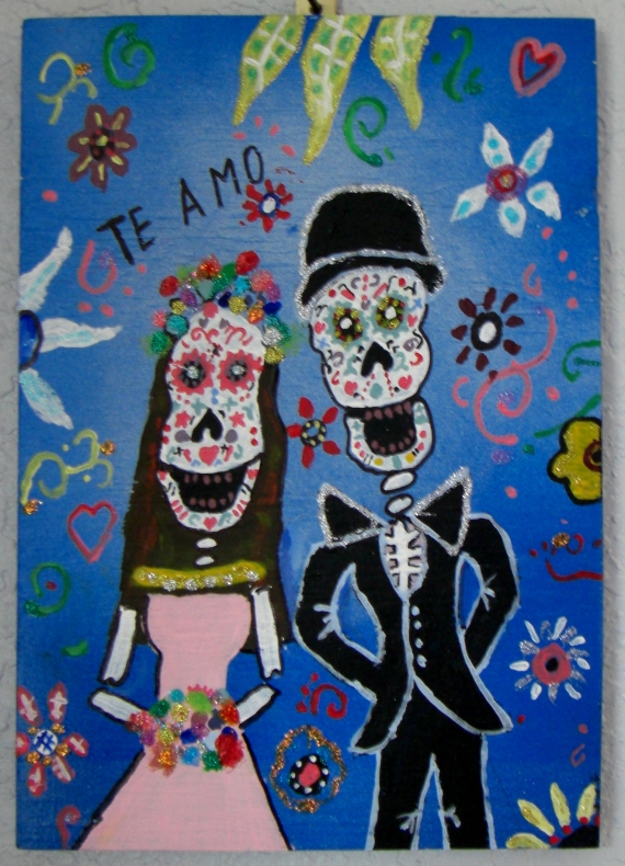 "I painted this on 8 3/4"" x 12 1/2"" half inch plywood with acrylics and glitter tube glue. It is a modified copy a painting by Pristine Cartera Turkus - Day of the Dead Wedding Art series. Original 184 x 240."